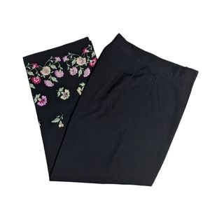 Larry Levine 6P Cropped Embroidered Pants
